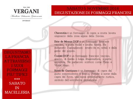 DEGUSTAZIONE DI FORMAGGI FRANCESI 5.11.2016